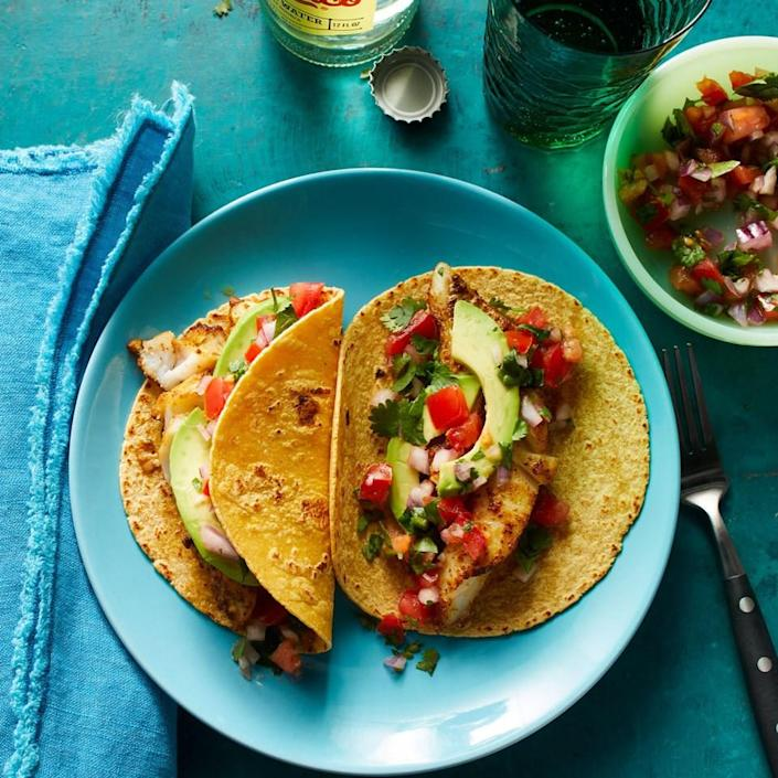 <p>Instead of deep-frying, the fish fillets in this quick-and-easy 5-ingredient recipe are coated with a flavorful seasoning blend and baked. Several varieties of flaky white fish can be used for these tacos. When you go to the market to purchase fish, the best strategy is to be flexible and choose the variety that looks freshest that day.</p>