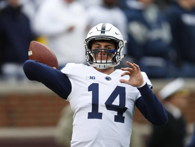 FILE - In this Nov. 3, 2018, file photo, Penn State quarterback Sean Clifford (14) warms up before an NCAA college football game against Michigan in Ann Arbor, Mich. Clifford always planned to be Penn States starting quarterback. The opportunity came sooner than even he expected. Clifford has huge task in replacing Trace McSorley, but he sounds and looks the part. (AP Photo/Paul Sancya, File)