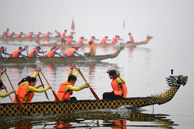 Dragon boat racing is popular in rural parts of Vietnam but has not been held in the capital in recent memory (AFP Photo/Nhac Nguyen)