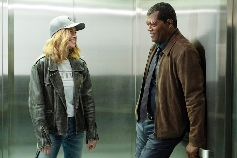 Captain Marvel S Costume Designer Decodes The Hidden Messages In The Film S 90s Era Wardrobe As you can see here and here, larson is sporting a version of her recent outfit, but with green and black instead. captain marvel s costume designer