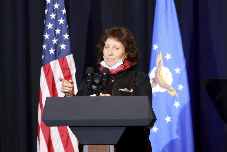 Victoria Yeager, the wife of the late Air Force Brig. Gen. Chuck Yeager speaks during a memorial service for him in Charleston, W.Va., on Friday, Jan. 15, 2021. Yeager died last month at age 97. The West Virginia native in 1947 became the first person to fly faster than sound. (AP Photo/Chris Jackson)
