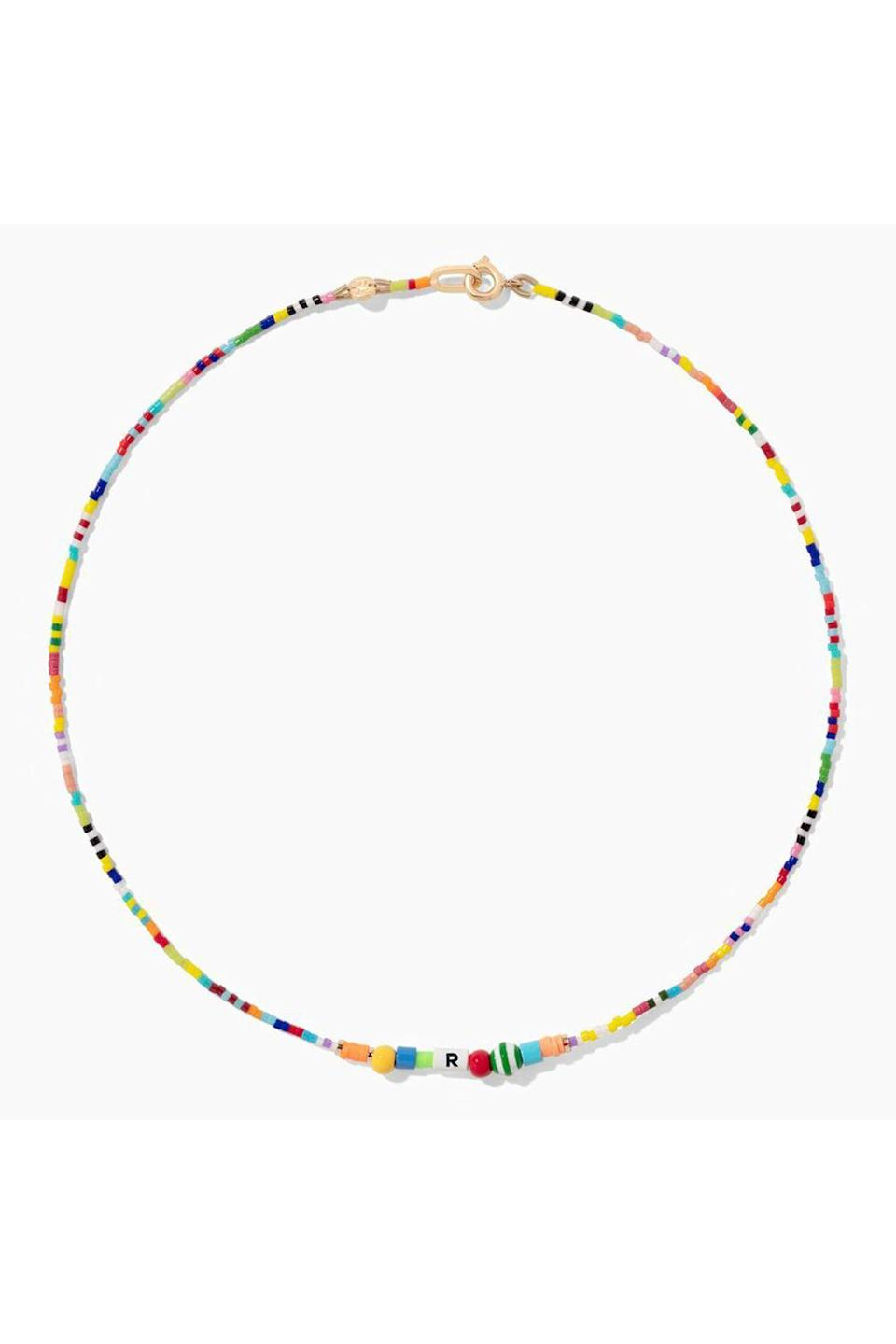 """<p><strong>Roxanne Assoulin</strong></p><p>roxanneassoulin.com</p><p><strong>$75.00</strong></p><p><a href=""""https://roxanneassoulin.com/collections/necklaces/products/abc-necklace"""" rel=""""nofollow noopener"""" target=""""_blank"""" data-ylk=""""slk:Shop Now"""" class=""""link rapid-noclick-resp"""">Shop Now</a></p><p>Roxanne Assoulin is known for her colorful, lighthearted designs, and this is no exception. This customizable necklace is sure to be a staple in your jewelry box. </p>"""