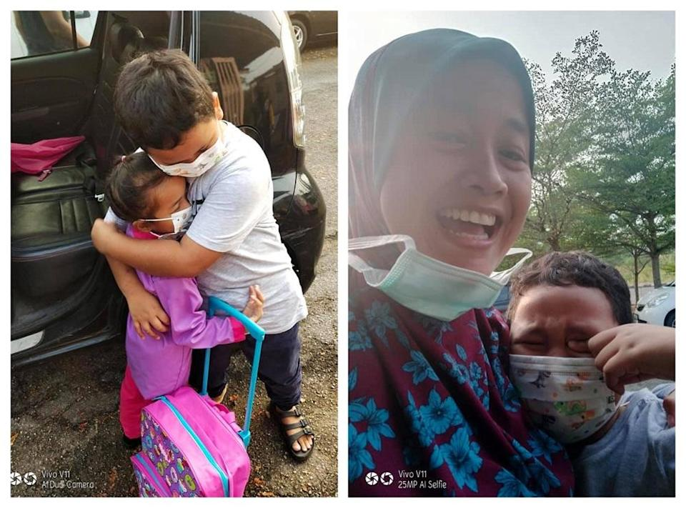 Muhammad Harith Haikal in tears after seeing his sister head to kindergarten. ― Pictures via Facebook/RifanadanFadhilah