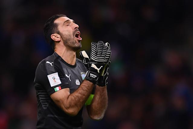 "<a class=""link rapid-noclick-resp"" href=""/soccer/players/gianluigi-buffon/"" data-ylk=""slk:Gianluigi Buffon"">Gianluigi Buffon</a> reacts during Italy's 0-0 draw with Sweden, which eliminated the Italians from World Cup contention. (Getty)"