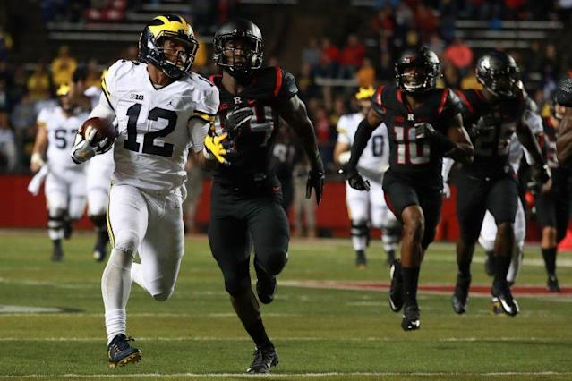 Michigan blew out Rutgers on the field in 2016. (Getty)