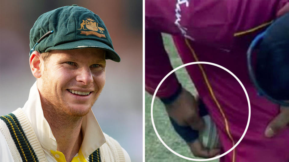 Steve Smith (pictured left) smiling and Nicholas Pooran (pictured right) copped a ban after he was caught ball tampering.