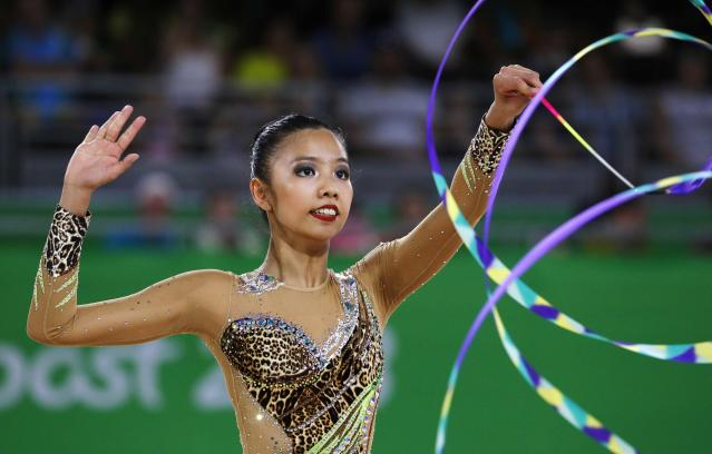 Rhythmic Gymnastics - Gold Coast 2018 Commonwealth Games - Individual Ribbon Final - Coomera Indoor Sports Centre - Gold Coast, Australia - April 13, 2018. Koi Sie Yan of Malaysia. REUTERS/David Gray