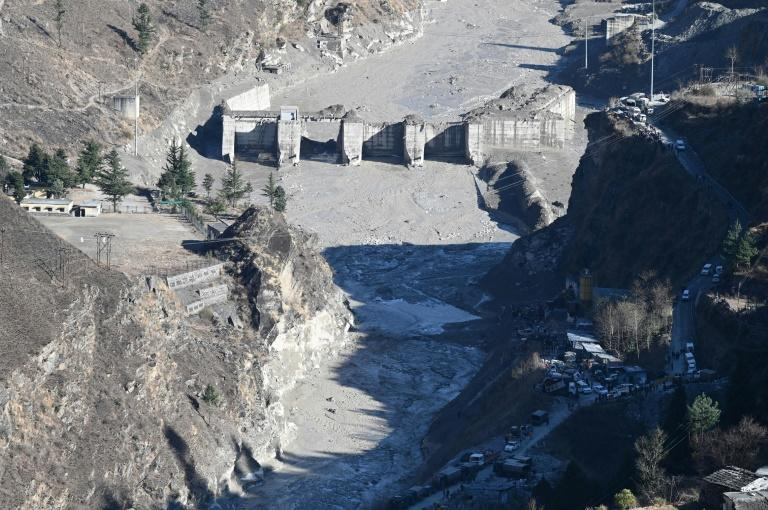 A general view shows the remains of a dam along a river in Tapovan, India after a flash flood believed to have been caused by a chunk of glacier falling off