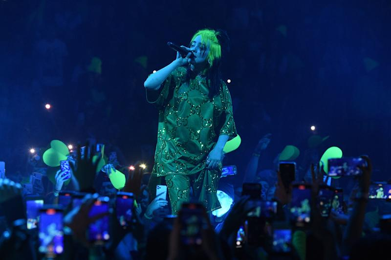 Billie Eilish durante show em Miami, nos Estados Unidos (Foto: Kevin Mazur/Getty Images)