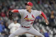 St. Louis Cardinals' Kwang Hyun Kim pitches during the first inning of the team's baseball game against the Milwaukee Brewers on Tuesday, May 11, 2021, in Milwaukee. (AP Photo/Aaron Gash)