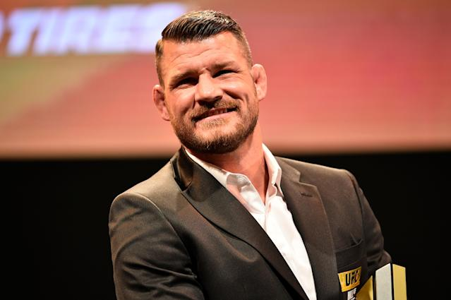 Michael Bisping looks on as he is inducted into the UFC Hall of Fame during the UFC Hall of Fame Class of 2019 Induction Ceremony inside The Pearl at The Palms Casino Resort on July 5, 2019 in Las Vegas. (Chris Unger/Zuffa LLC via Getty Images)