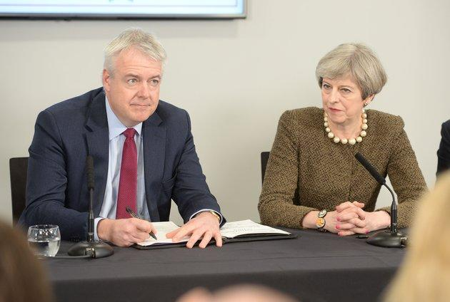 Theresa May with Wales First Minister Carwyn Jones