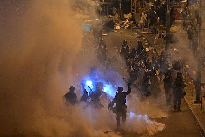 Police fire tear gas at protesters near the government headquarters in Hong Kong on July 2, 2019. (Photo: Anthony Wallace/AFP/Getty Images)