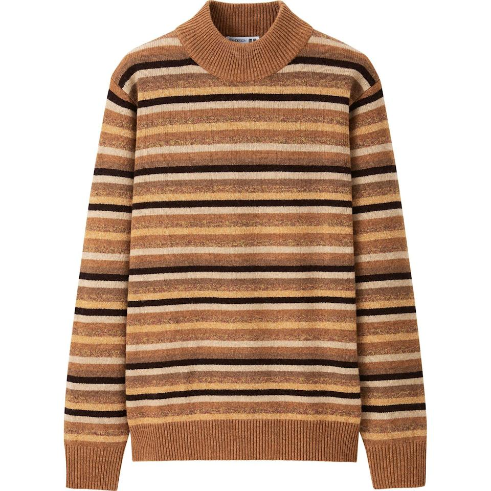 """<p>uniqlo.com</p><p><strong>$49.90</strong></p><p><a href=""""https://go.redirectingat.com?id=74968X1596630&url=https%3A%2F%2Fwww.uniqlo.com%2Fus%2Fen%2Fmen-premium-lambswool-mock-neck-long-sleeve-sweater-jw-anderson-432323.html&sref=https%3A%2F%2Fwww.esquire.com%2Fstyle%2Fmens-fashion%2Fg34384963%2Funiqlo-jw-anderson-fall-winter-2020-collection%2F"""" rel=""""nofollow noopener"""" target=""""_blank"""" data-ylk=""""slk:Shop Now"""" class=""""link rapid-noclick-resp"""">Shop Now</a></p>"""