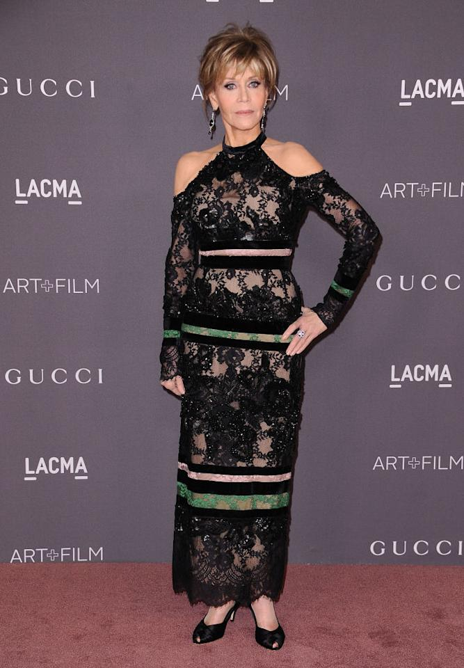 <p><strong>When: Nov. 4, 2017</strong><br />Rocking a black shoulderless embroidered gown from the Elie Saab 2017 pre-fall collection, she complemented the overall look with short choppy blonde locks and smoky eyes. <em>(Photo: Getty)</em> </p>