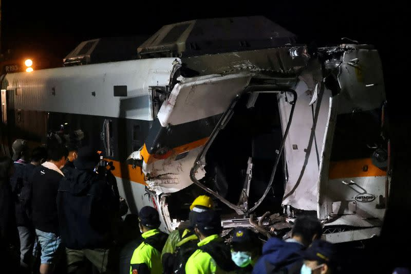 FILE PHOTO: View of the site of the deadly train derailment, north of Hualien