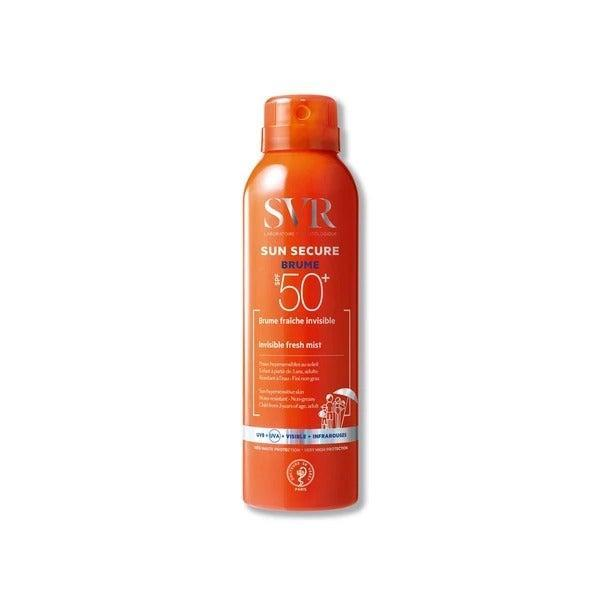 """This is an ultra-fine mist that works very well for both face and body. It lends skin a dewy glow and revives makeup as it guards against UV. It smells like holidays, too. <br><br><strong>SVR</strong> Sun Secure SPF50 Mist, $, available at <a href=""""https://uk.labo-svr.com/products/sun-secure-spf-50-mist"""" rel=""""nofollow noopener"""" target=""""_blank"""" data-ylk=""""slk:SVR"""" class=""""link rapid-noclick-resp"""">SVR</a>"""