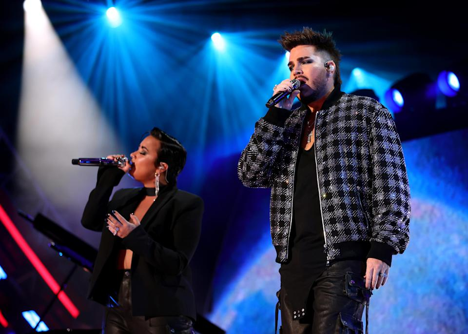 LOS ANGELES, CALIFORNIA – SEPTEMBER 25: (L-R) Demi Lovato and Adam Lambert perform onstage during Global Citizen Live on September 25, 2021 in Los Angeles, California. (Photo by Rich Fury/Getty Images for Global Citizen) - Credit: Getty Images for Global Citizen