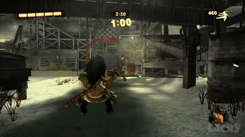 Rubi slides across the ground while shooting in a shot from Bethesda's Wet.