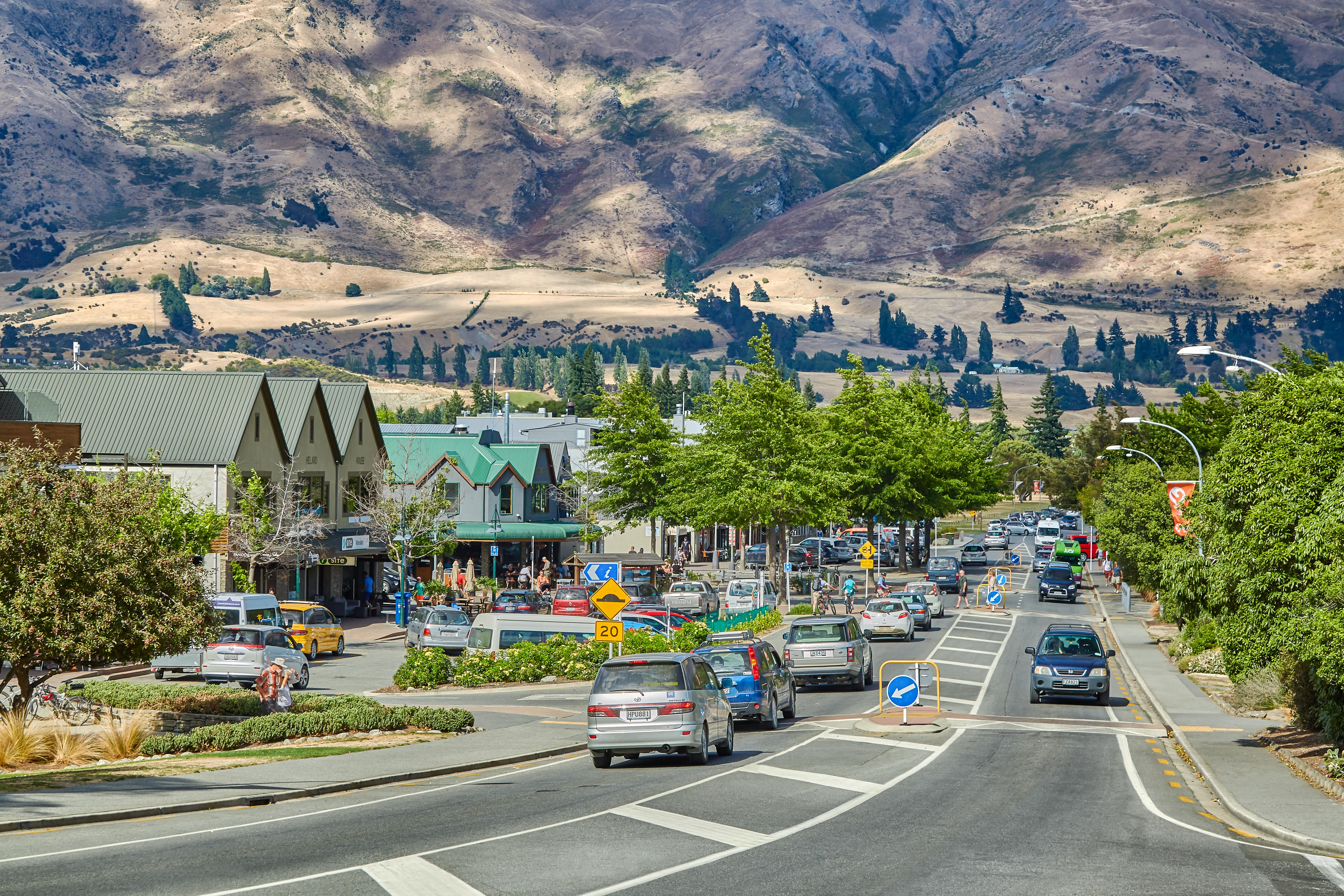 Looking down the main street of the town of Wanaka, Otago, New Zealand