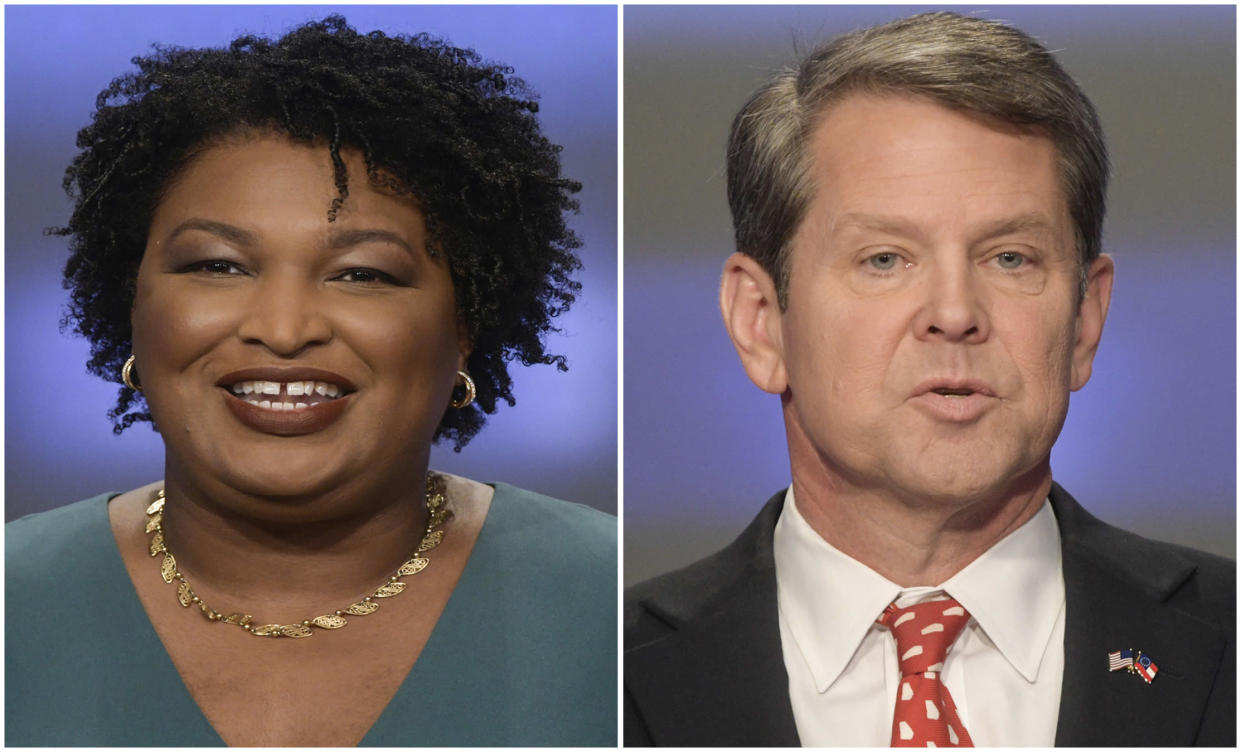 Stacey Abrams, left, and Brian Kemp. (Photos: John Amis/AP)