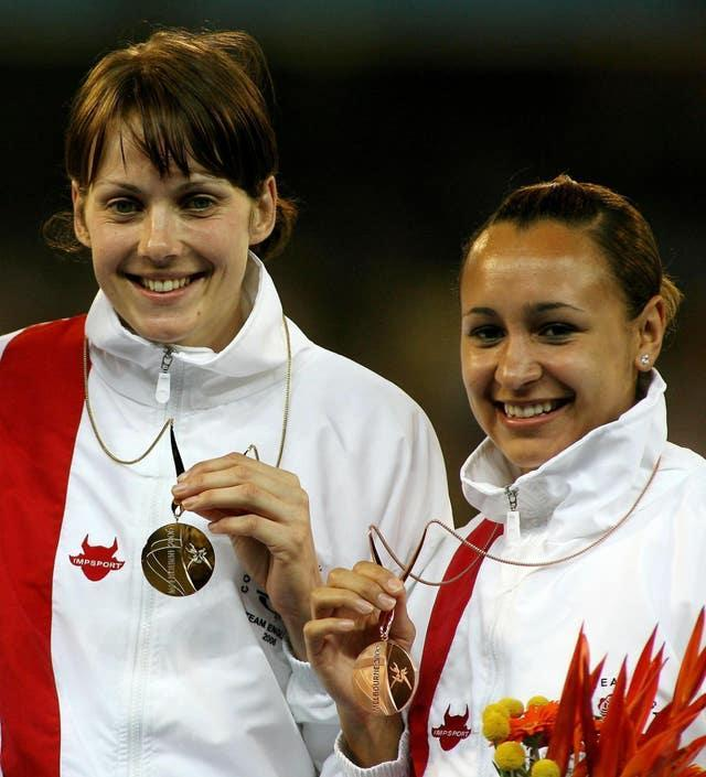 Sotherton (left) was champion while the bronze medal went to England team-mate Jessica Ennis (right) (Gareth Copley/PA).
