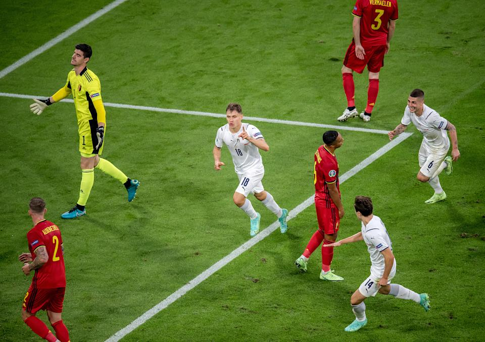 Nicolo Barella (pictured centre) celebrates during the UEFA Euro 2020 Championship Quarter-final match between Belgium and Italy at Football Arena Munich.