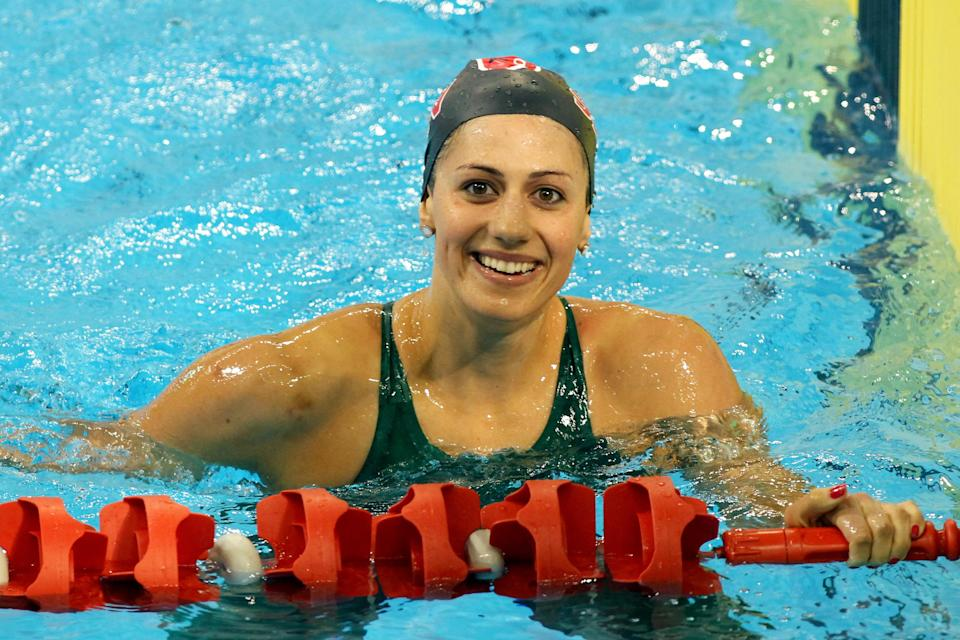 Stephanie Rice of Australia celebrates after competing in the womens 400m individual medley final during day one of the Australian Olympic Swimming Trials at the South Australian Aquatic & Leisure Centre on March 15, 2012 in Adelaide, Australia. (Photo by Morne de Klerk/Getty Images)