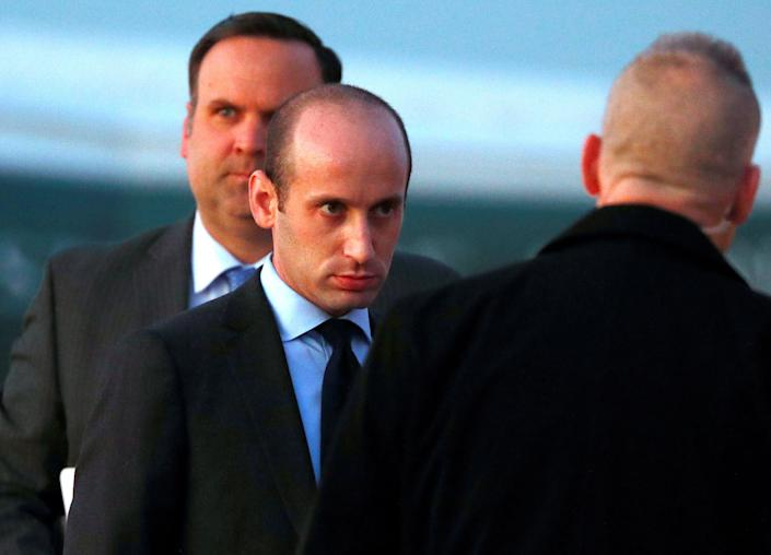 White House senior policy adviser Stephen Miller and White House director of social media Dan Scavino board Air Force One to depart Washington with U.S. President Donald Trump on Nov. 14, 2019.  (Photo: Tom Brenner / Reuters)