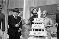 <p>A young Melanie Griffith joined her mother, Tippi Hedren, to celebrate Chaplin's 77th birthday on the set of <em>A Countess From Hong Kong</em>. Oh and Sophia Loren was there too. But she seemed way more interested in the cake than either star.<br></p>