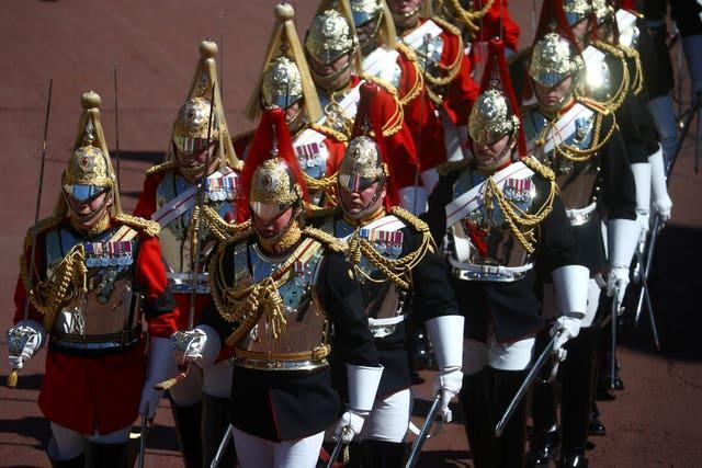 Members of the Household Cavalry on the march
