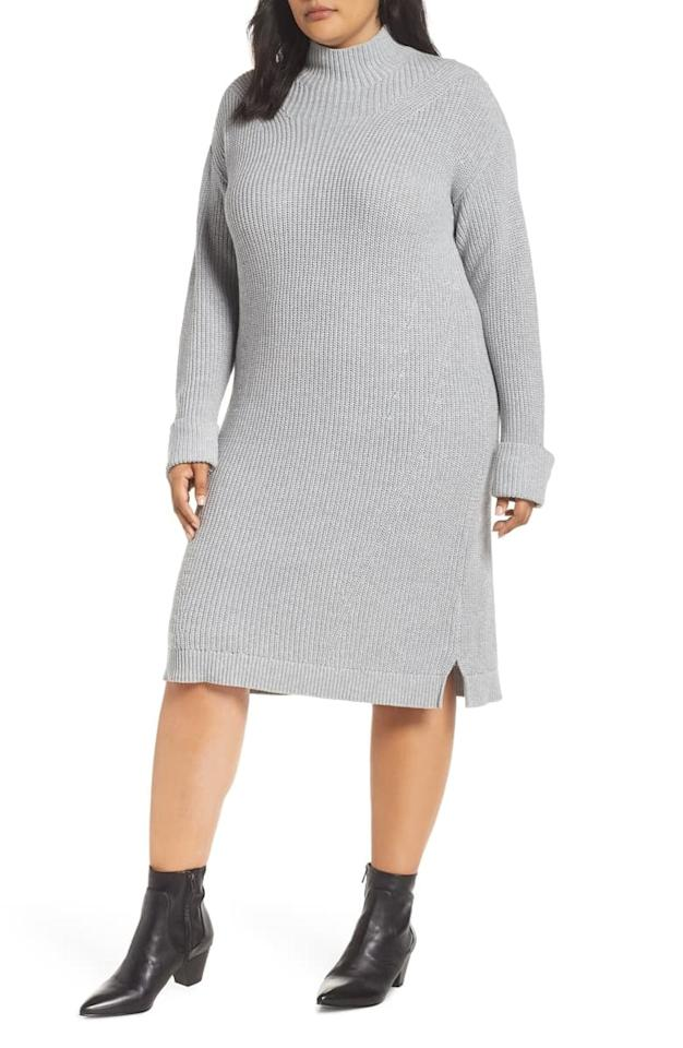 """<p>This <a href=""""https://www.popsugar.com/buy/Caslon-Ribbed-Sweater-Dress-494089?p_name=Caslon%20Ribbed%20Sweater%20Dress&retailer=shop.nordstrom.com&pid=494089&price=79&evar1=fab%3Aus&evar9=46675966&evar98=https%3A%2F%2Fwww.popsugar.com%2Fphoto-gallery%2F46675966%2Fimage%2F46676080%2FCaslon-Ribbed-Sweater-Dress&list1=shopping%2Cfall%20fashion%2Csweaters%2Cdresses%2Cfall%2Ccurve%2Ccurve%20fashion&prop13=api&pdata=1"""" rel=""""nofollow"""" data-shoppable-link=""""1"""" target=""""_blank"""" class=""""ga-track"""" data-ga-category=""""Related"""" data-ga-label=""""https://shop.nordstrom.com/s/caslon-ribbed-sweater-dress-plus-size/4958190?origin=category-personalizedsort&amp;breadcrumb=Home%2FWomen%2FClothing%2FPlus-Size%20Clothing%2FDresses&amp;color=black"""" data-ga-action=""""In-Line Links"""">Caslon Ribbed Sweater Dress</a> ($79) is cozy and adorable.</p>"""