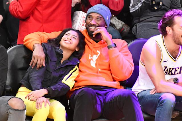 Kobe Bryant and daughter Gianna Bryant at a Lakers game last month. (Photo by Allen Berezovsky/Getty Images)