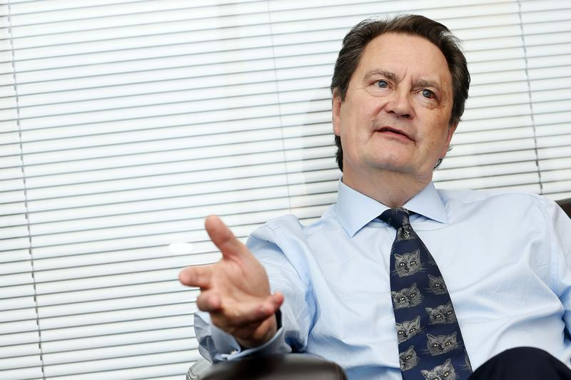 David Green, director of the Serious Fraud Office (SFO), gestures during an interview with Reuters in London