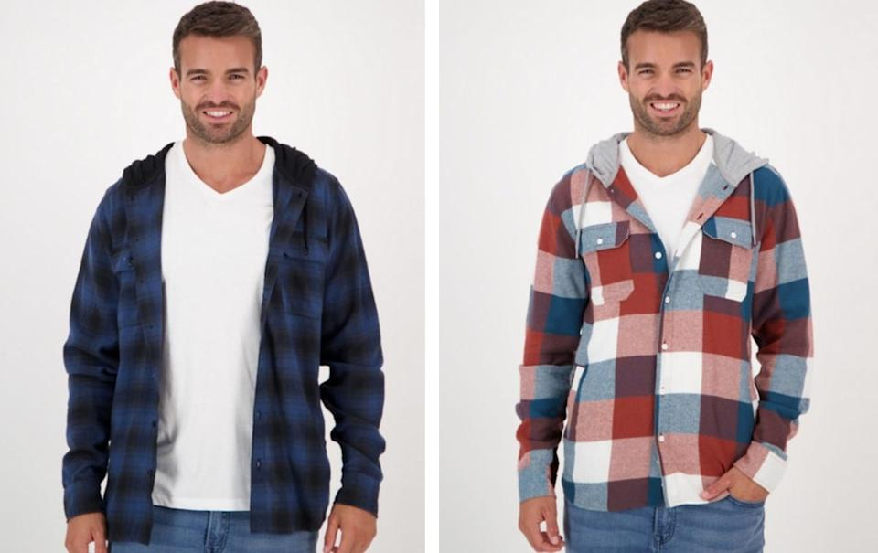 Men's hooded flannel shirt - now $12