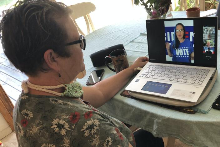"<span class=""caption"">Virtual neighborhood meetings, like this Democratic effort in Reedsburg, Wis., are among the latest efforts to get people to vote.</span> <span class=""attribution""><a class=""link rapid-noclick-resp"" href=""https://newsroom.ap.org/detail/Election2020GroundGame/1ea10d7a31db4be3a7353a3d5df3beb7/photo"" rel=""nofollow noopener"" target=""_blank"" data-ylk=""slk:AP Photo/Tom Beaumont"">AP Photo/Tom Beaumont</a></span>"