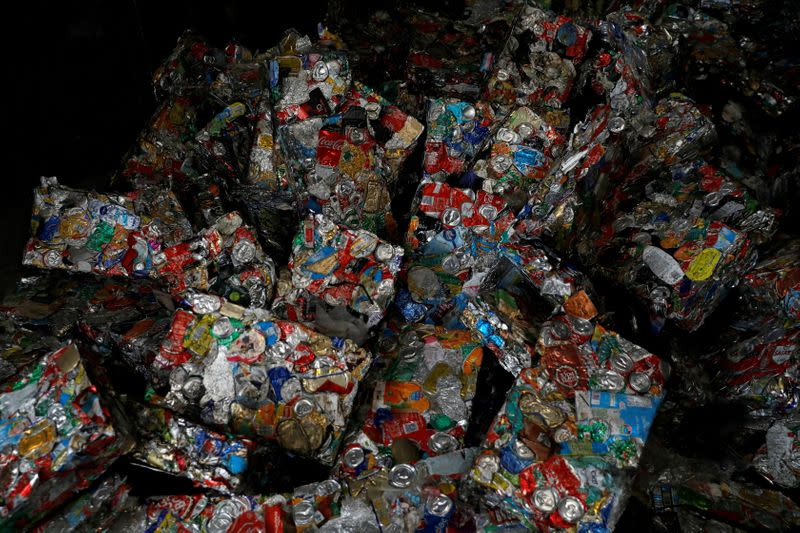 FILE PHOTO: Pakages of separate cans are seen at Amarsul plant in Seixal