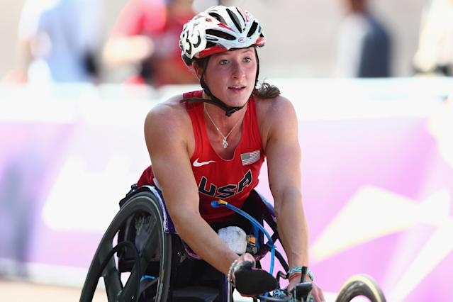 LONDON, ENGLAND - SEPTEMBER 09: Tatyana McFadden of USA crosses the finishing line in the Women's T54 Marathon on day 11 of the London 2012 Paralympic Games at Olympic Stadium on September 9, 2012 in London, England. (Photo by Michael Steele/Getty Images)