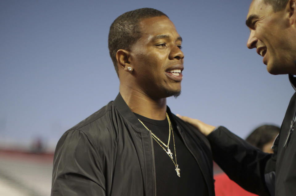 Ray Rice hopes his experience can help Kareem Hunt and others in the NFL. (AP Photo/Mel Evans)