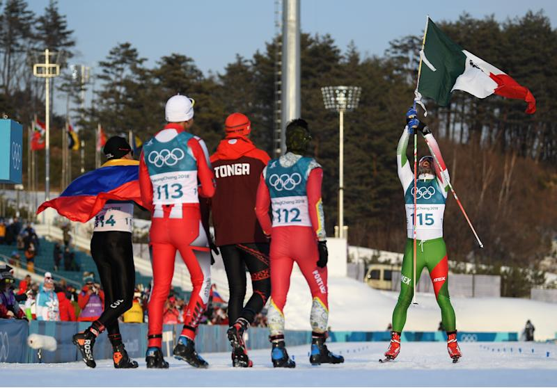 Mexican Olympic skier finishes last but still gets a hero's celebration