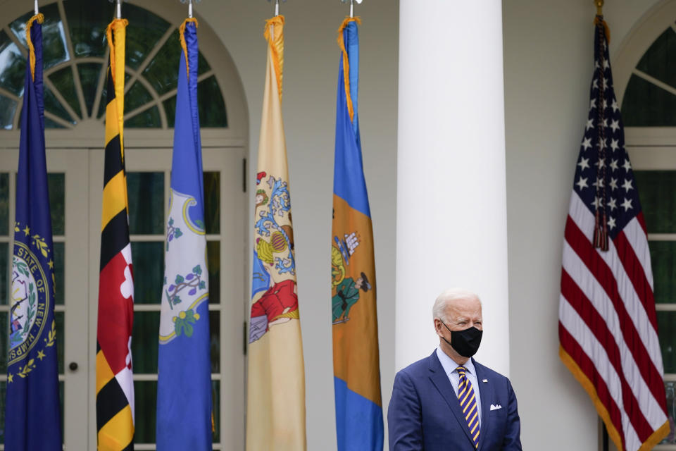President Joe Biden listens during an event in the Rose Garden about the American Rescue Plan, a coronavirus relief package, of the White House, Friday, March 12, 2021, in Washington. (AP Photo/Alex Brandon)