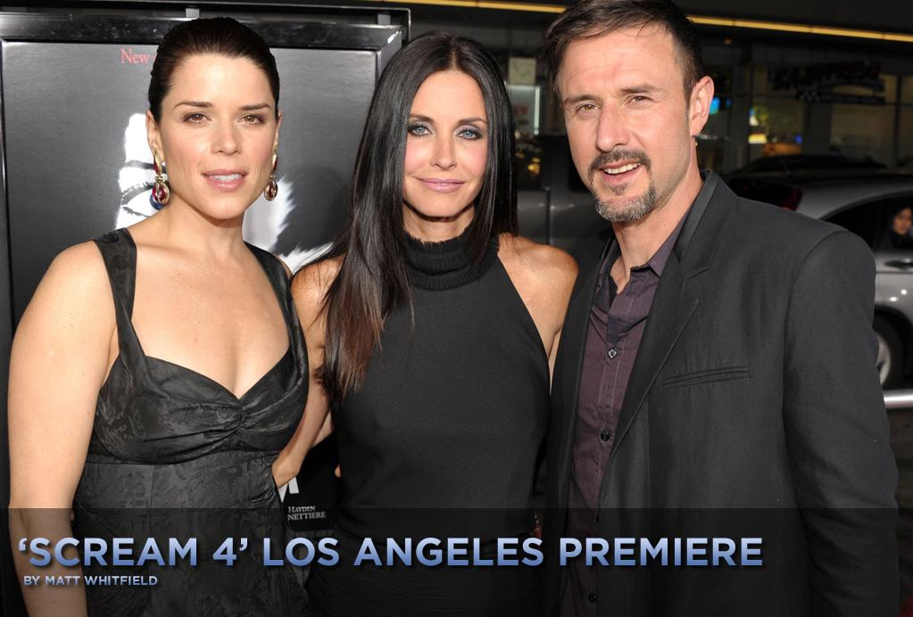 """See which stars joined returning cast members Neve Campbell, Courteney Cox, and David Arquette at the highly anticipated """"Scream 4"""" premiere, which took place Monday evening at Grauman's Chinese Theatre in Hollywood, CA."""