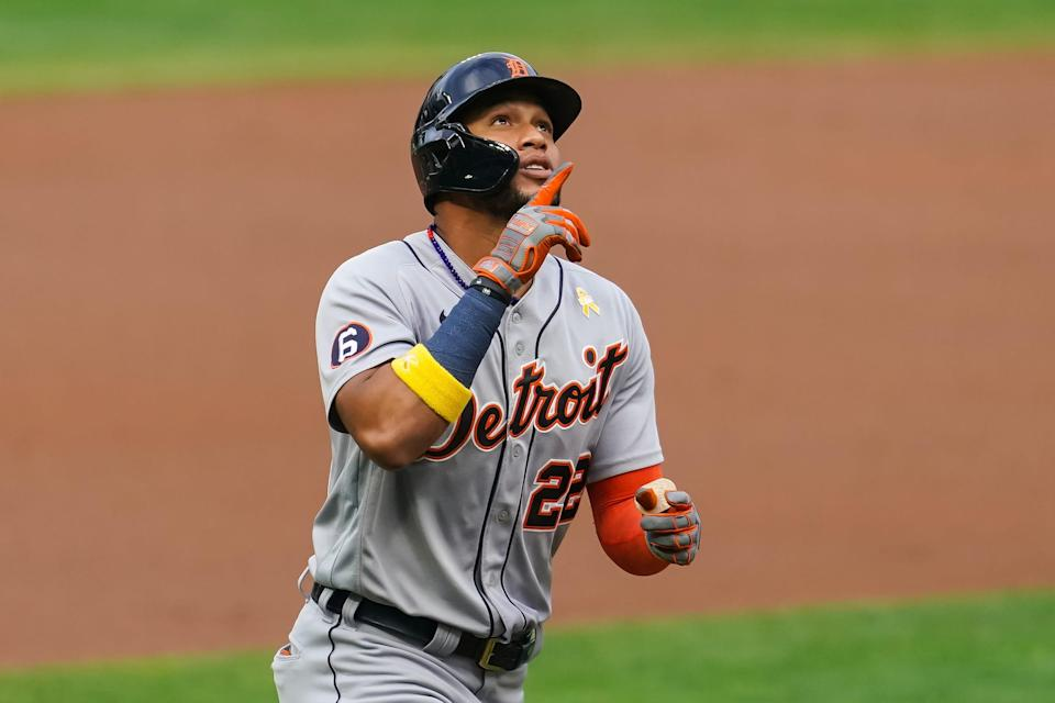 Tigers center fielder Victor Reyes celebrates after hitting a solo home run against the Twins in the first inning at Target Field on Saturday, Sept. 5, 2020, in Minneapolis.