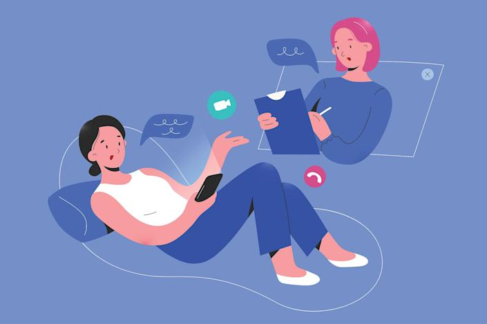 An illustration of a therapist or doctor speaking to a patient over a video call