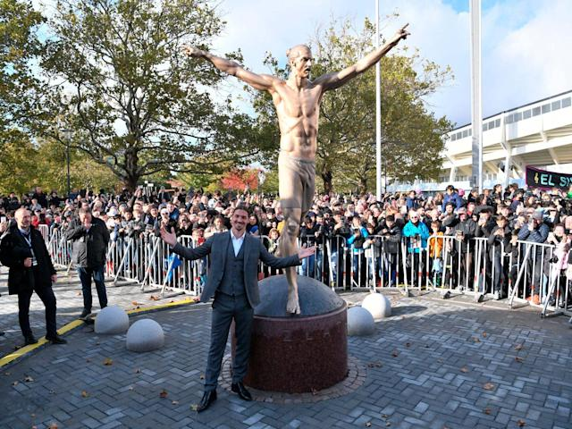 Zlatan Ibrahimovic at the unveiling of his statue in Malmo: AP