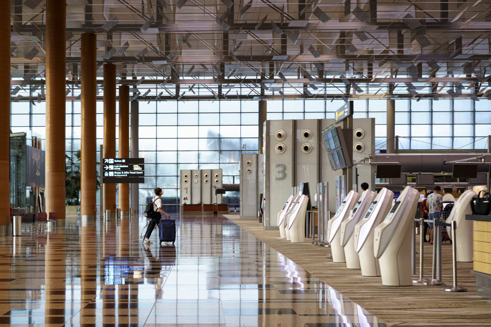 The departure hall of Changi Airport Terminal 3.