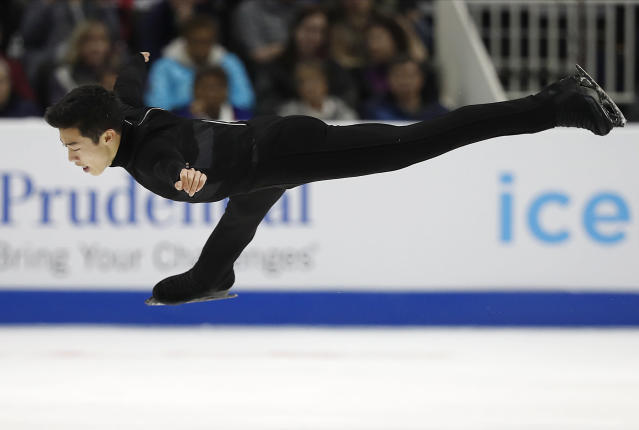 Nathan Chen is poised to take gold in figure skating for the United States. (AP)