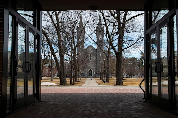 The Bowdoin College campus was nearly empty during spring break on March 11, 2020, in Brunswick, Maine. Many campuses have sent students home for the spring semester. May 1 is traditionally when many incoming first-year students commit for the fall semester.