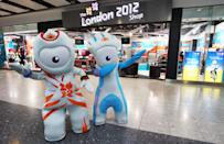 2012 mascots, Wenlock and Mandeville strike a pose outside the new London 2012 store during the London 2012 Shop Opening At Heathrow Terminal 5 at Heathrow Airport on March 1, 2011 in London, England. (Photo by Julian Finney/Getty Images for LOCOG)