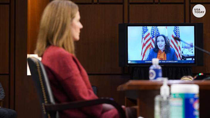 Sen. Kamala Harris highlighted the impact Barrett could have on a woman's right to an abortion on the second day of confirmation hearings.